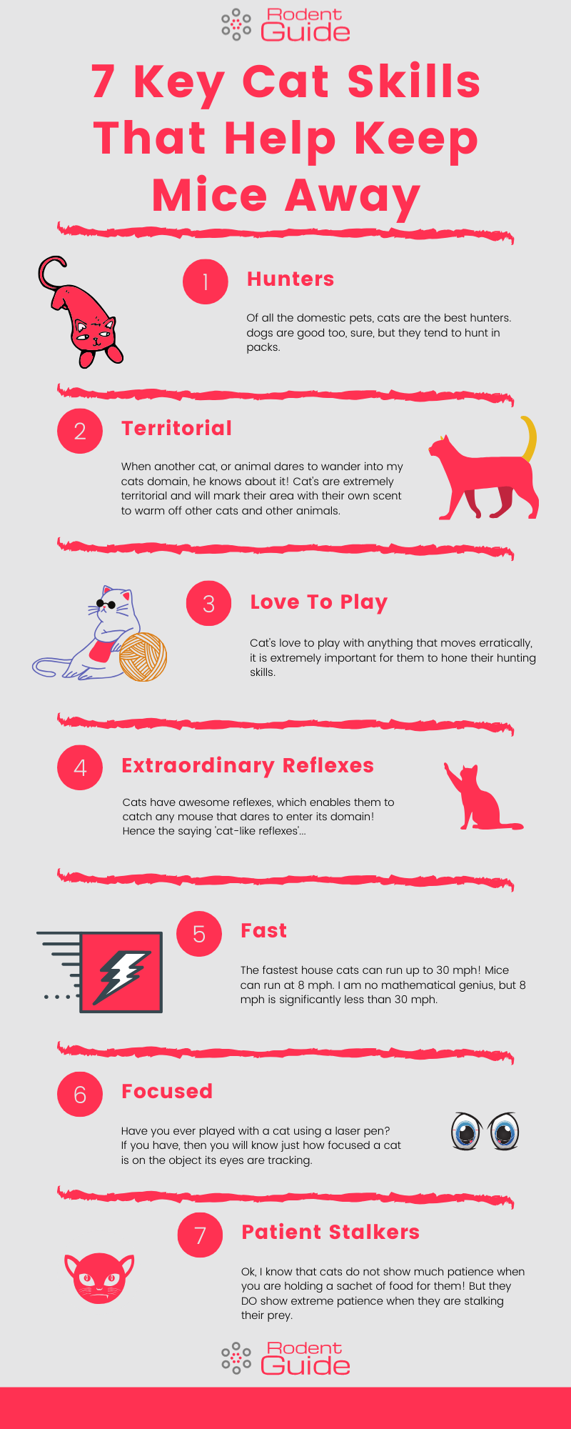 Infographic that shows 7 key skills that cats have to keep mice away